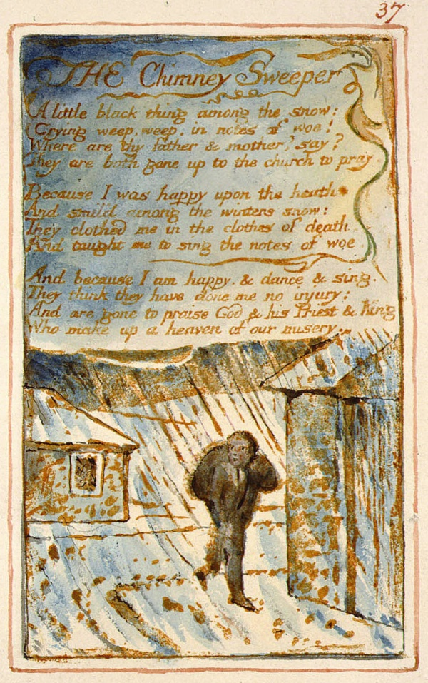 william blakes the chimney sweeper essay The chimney sweeper – analysis the chimney sweeper by william blake is a short lyric evoking feelings and experiences of a young boy and his friends working as chimney sweepers it is a short poem of six quatrains, rhymed aa bb.