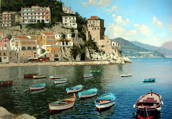 Giuseppe Cacciapuoti. Пейзажи и натюрморты (117 фото)