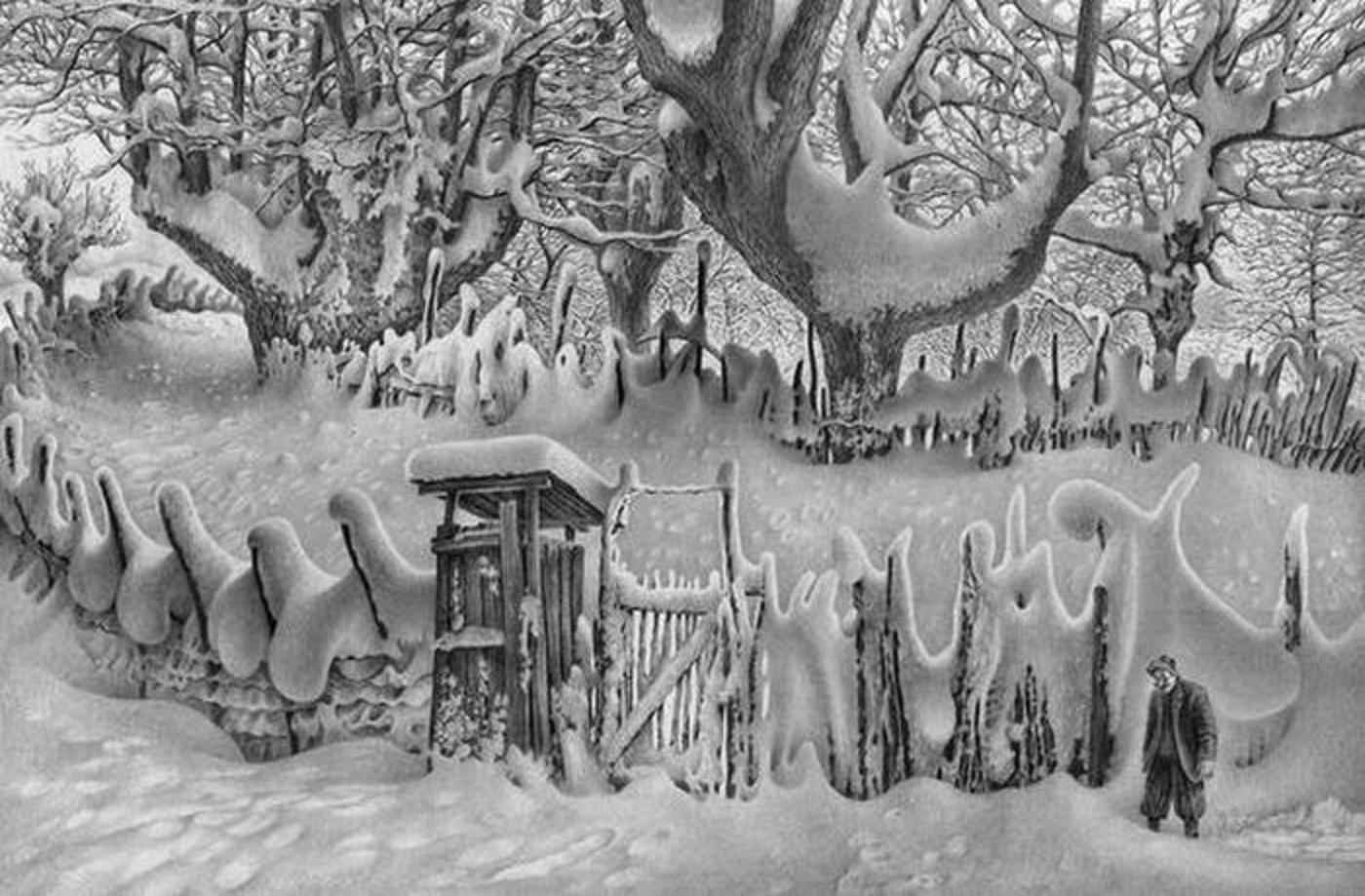 Зимние пейзажи рисунки карандашом 4