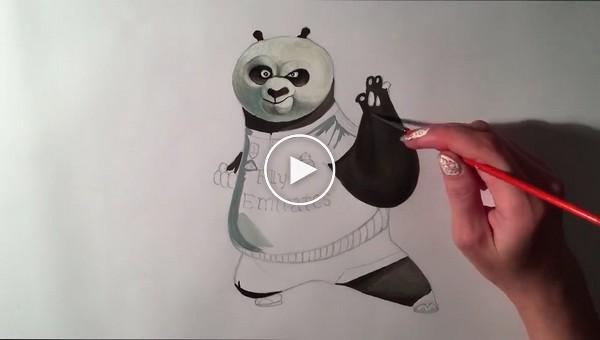 Красивый кунг-фу панда на бумаге