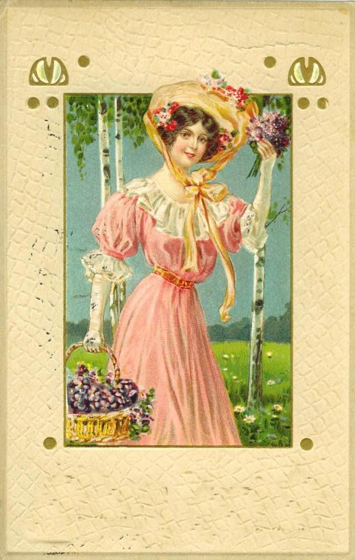 Женский образ на старой открытке (847 фото)