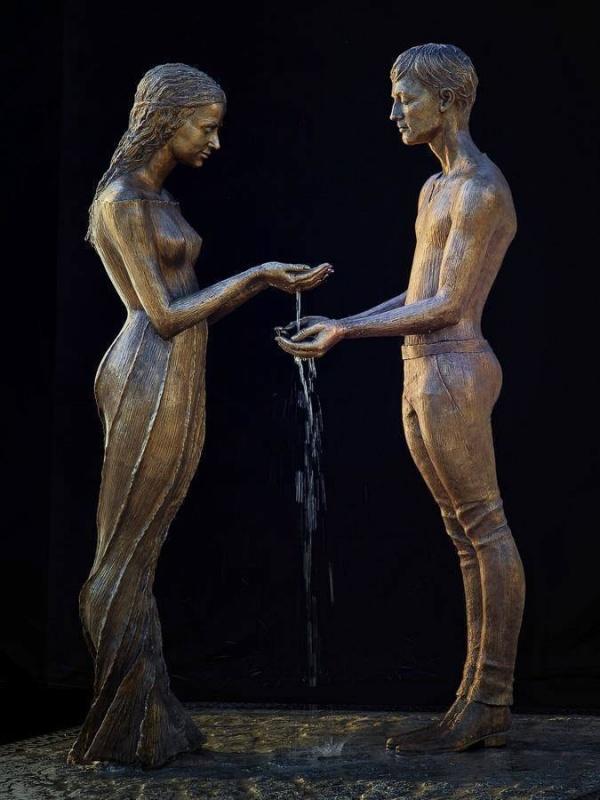 Великолепные скульптуры Вода и медь. Скульптор Malgorzata Chodakowska (6 фото)