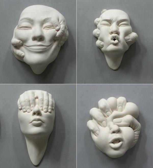 Керамическая скульптура от художника Johnson Tsang (7 фото)