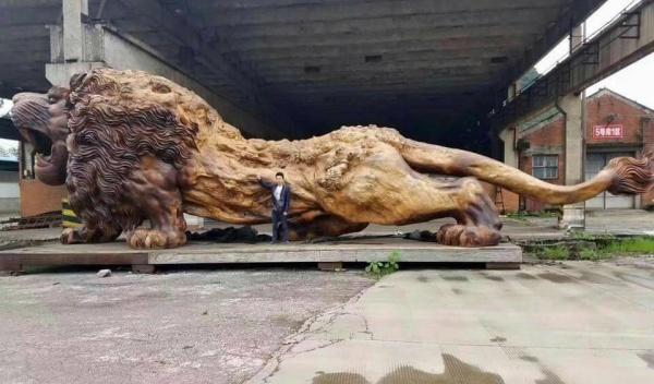 Мастер Cong Thanh. Резная скульптура льва из камфорного дерева (9 фото)