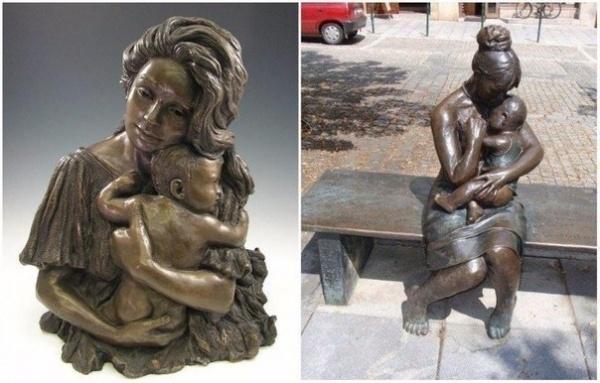 Потрясающие скульптуры, посвященные мамам (7 фото)