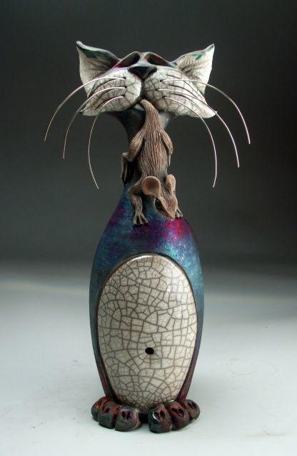 Художник Mitchell Grafton и его керамические коты (6 фото)