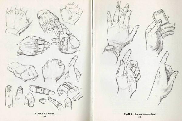 Учимся рисовать людей. Кисти рук (6 работ)