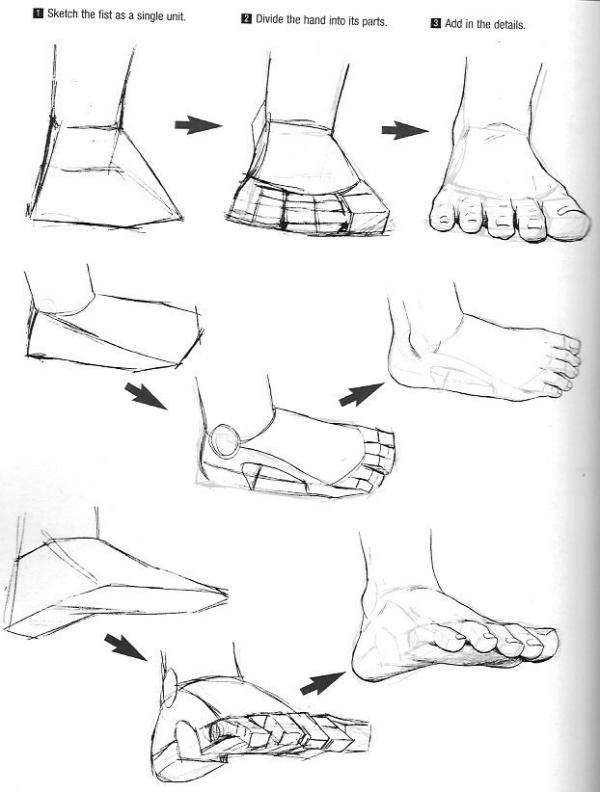 Учимся рисовать людей. Стопы (10 работ)