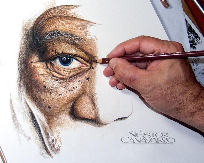 Удивительно точный портрет Моргана Фримена от Нестора Канаварро (5 фото)