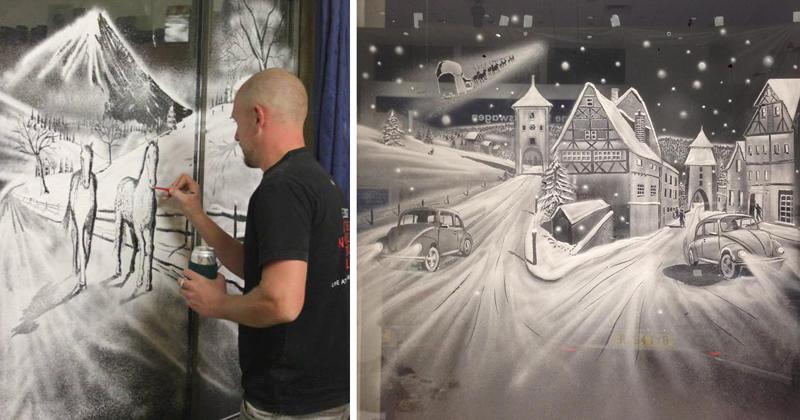 Пользователь Интернета создаёт на окнах настоящие картины с помощью