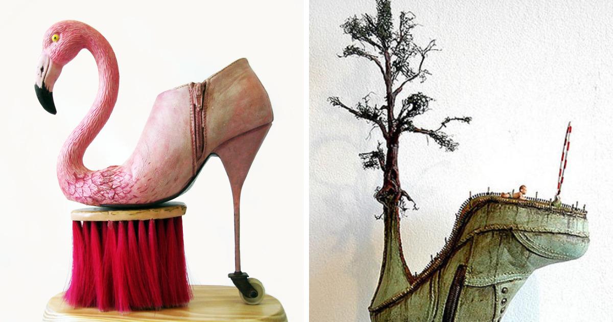 Греческий художник делает из туфель прекрасные тематические скульптуры (9фото)