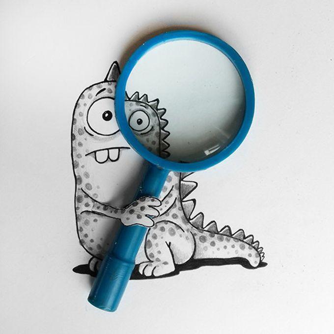 Рисунки с забавным дракончиком от Manik & Ratan (9фото)