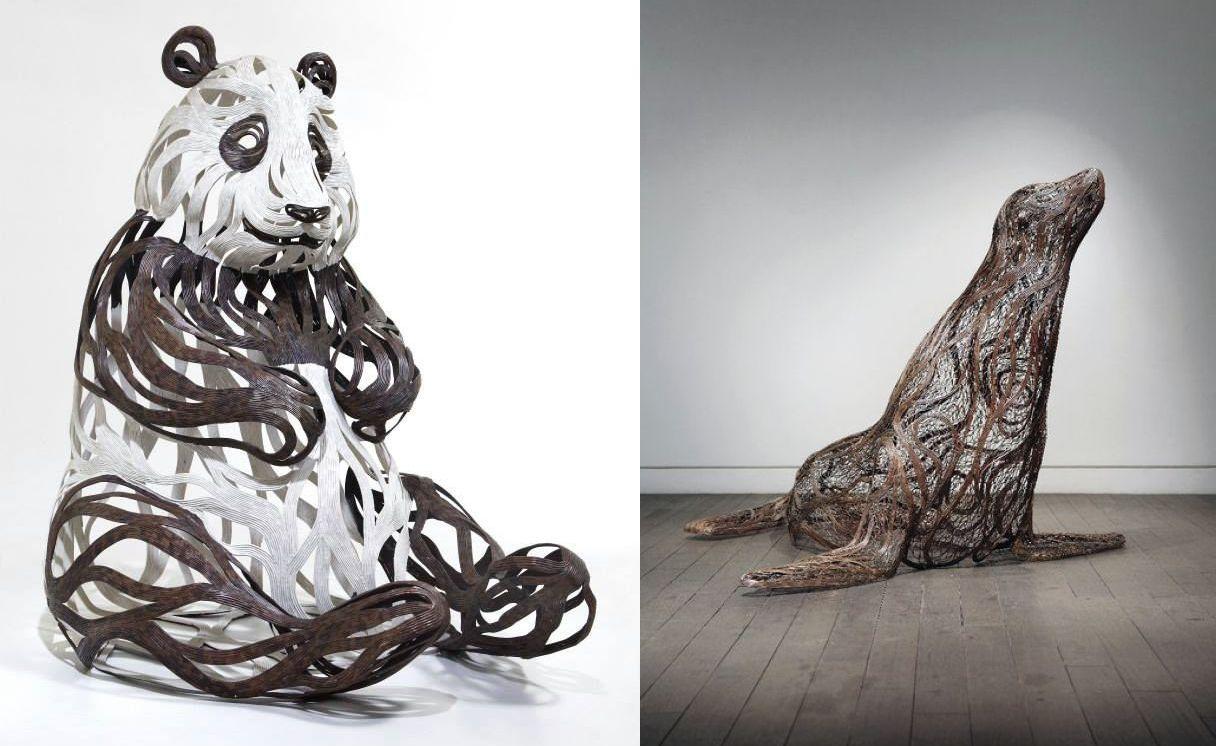 Невероятно динамичные скульптуры животных из металлических полос от Сон Хун Кана (22фото)