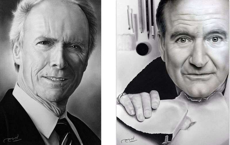 Фотореалистичные портреты знаменитостей нарисованные простым карандашом (37фото)