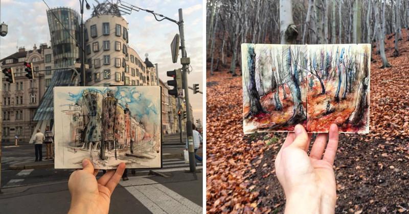 Необычный проект: студентка ежедневно делает по одной зарисовке Праги (25фото)