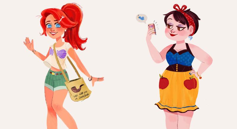 Современные образы диснеевских принцесс в очаровательных работах детского иллюстратора (11фото)