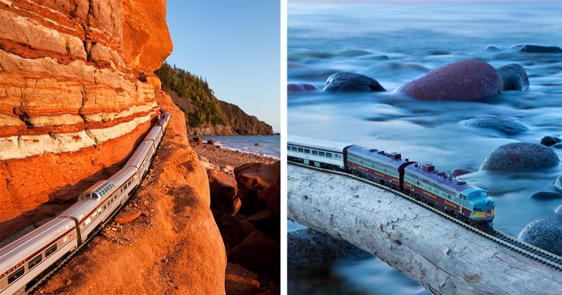 Путешествие игрушечного поезда по Канаде (21фото)