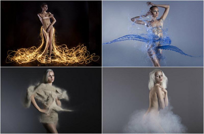 Обнаженные модели во власти стихий (18 фото)