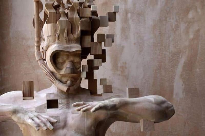 Тайваньский скульптор вырезает пиксельные скульптуры из дерева (9фото)
