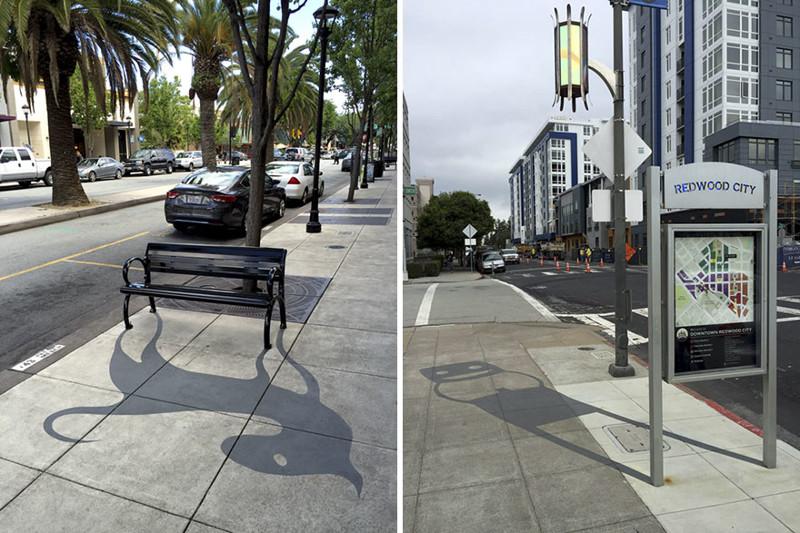 Художник сочетает тень, отбрасываемую различными уличными предметами (20фото)