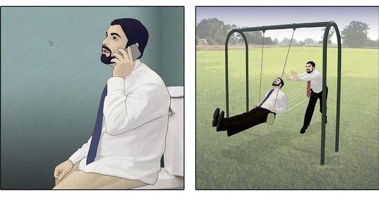 Смешные комиксы с неожиданным концом, в которых нет ни единого слова (24фото)