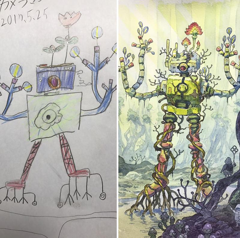 Аниме-художник превращает рисунки сыновей в крутых персонажей (22фото)