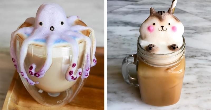 Юная художница создает очаровательные скульптуры из молочной пены (14фото)