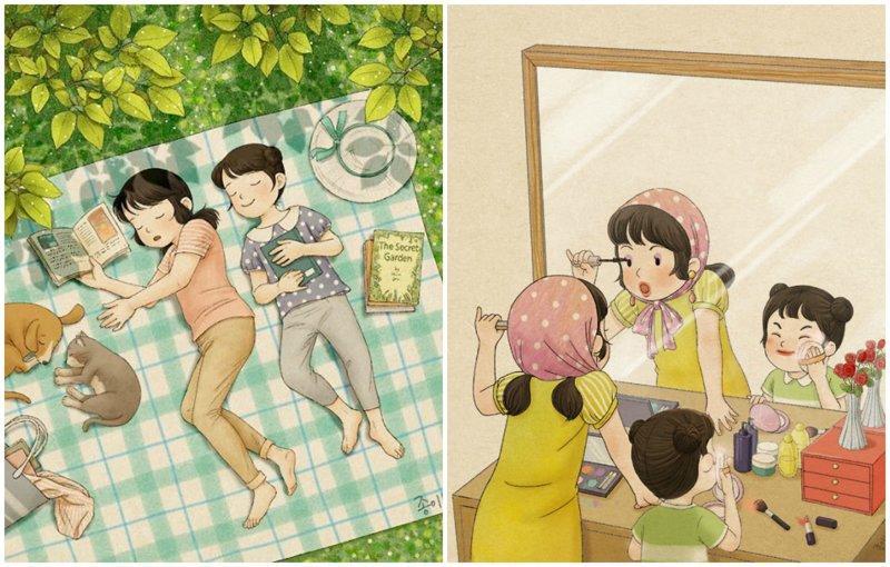Какая она - жизнь с сестрой? Тёплые иллюстрации корейской художницы (46фото)