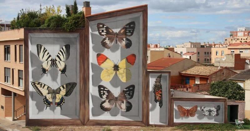Художник добавляет шарма скучным улицам, создавая гигантских бабочек на стенах (10фото)