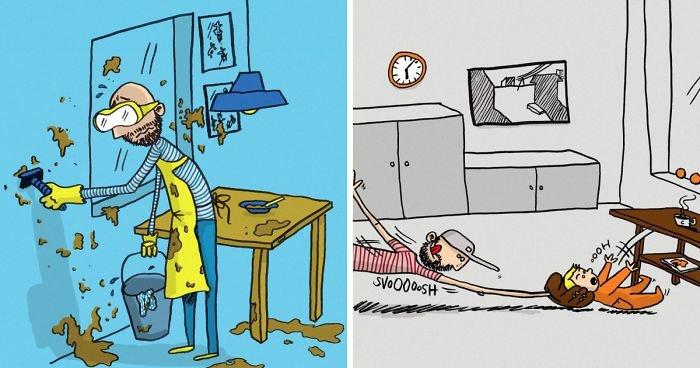 Мужчина создал иллюстрации, раскрывающие все прелести отцовства (12фото)
