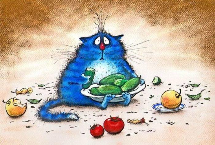 Синие коты – любимцы публики: картины, написанные в стиле «котизм» (18фото)