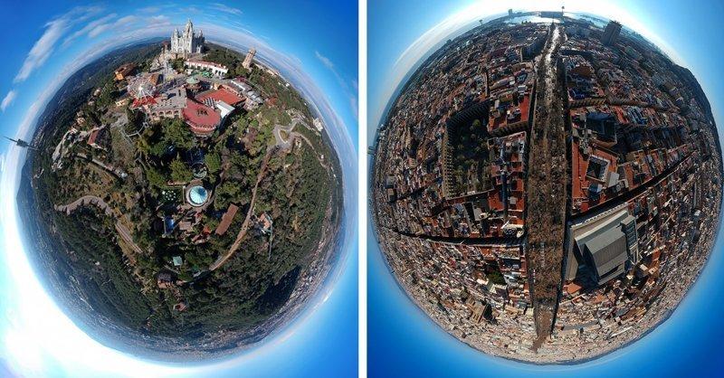 Барселона, похожая на маленькие планеты, в формате 360 градусов (10фото)