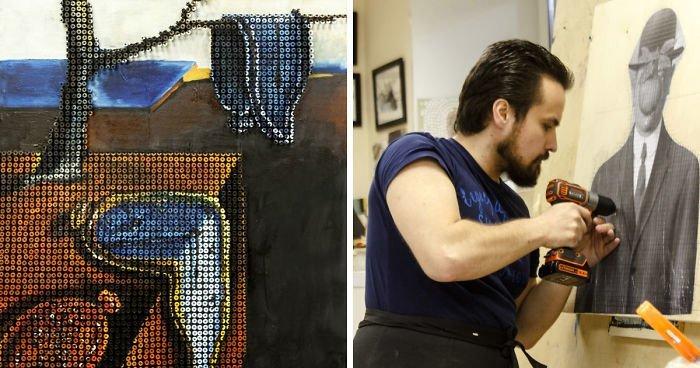 Художник воссоздает шедевры мировой живописи из шурупов (21фото)