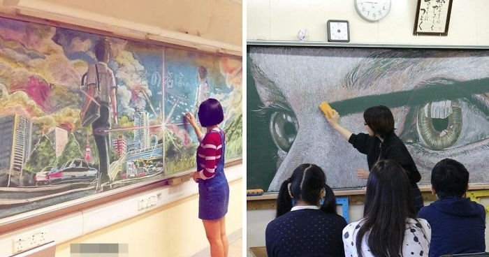 Превосходные рисунки мелом учеников из Гонконга (15фото)