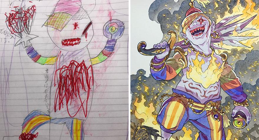 Отец дорисовывает художества сына в смешные карикатуры