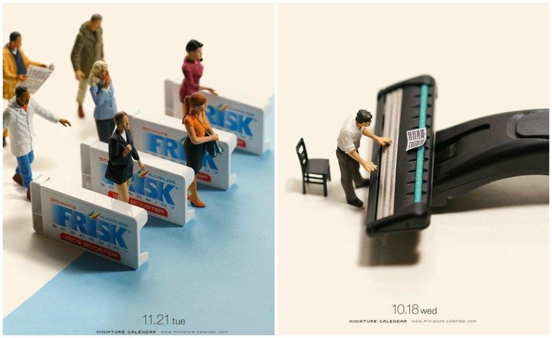 Миниатюрный календарь Танаки Тацуя: повседневность в оригинальных миниатюрах (28фото)