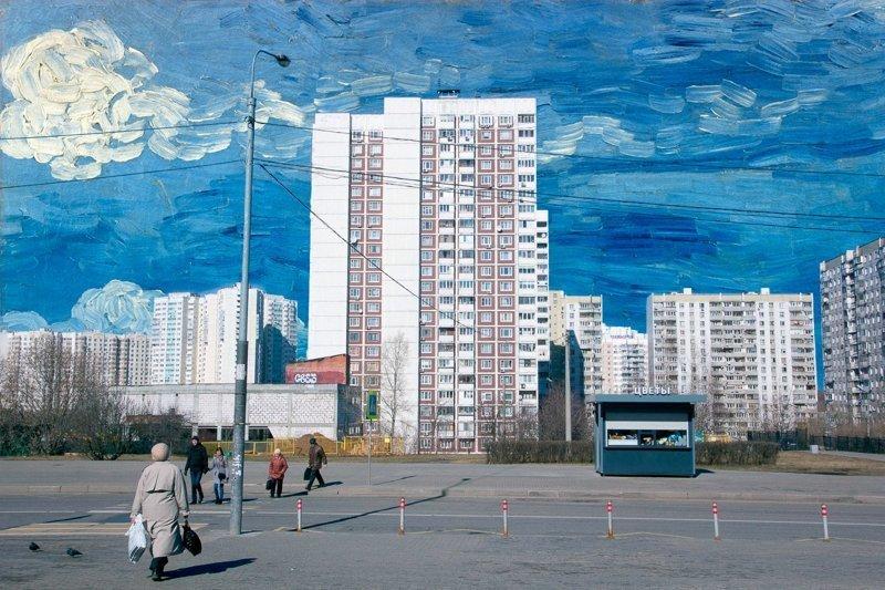 Шедевры мировой живописи в унылых российских пейзажах (25фото)