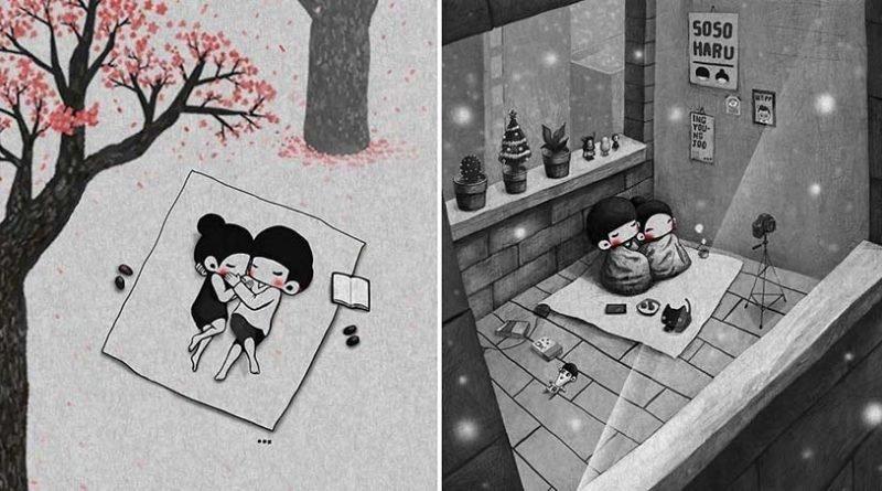 Маленькие милые моменты из жизни супругов, которые создаёт корейский иллюстратор (37фото)