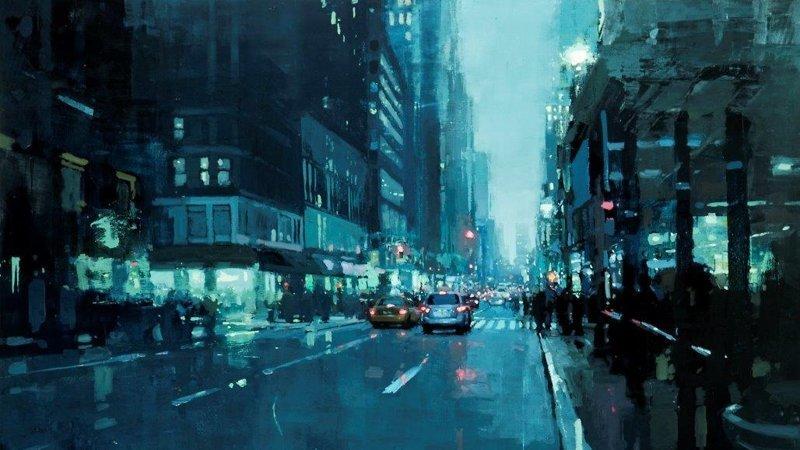 Атмосферные городские пейзажи художника Джереми Манна (26фото)