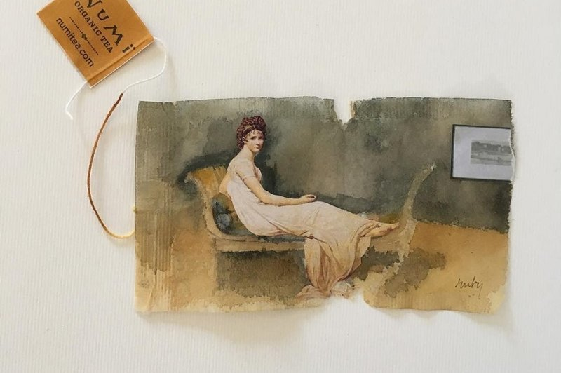 Миниатюрные картины на чайных пакетиках (45фото)