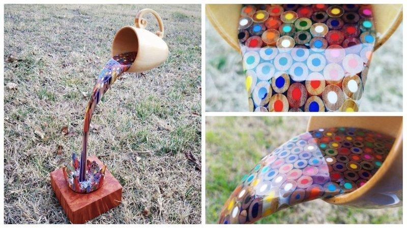 Забавная скульптура из дерева и цветных карандашей (8фото+1видео)