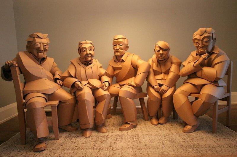 Картонные скульптуры жителей китайской деревни в натуральную величину (23фото)