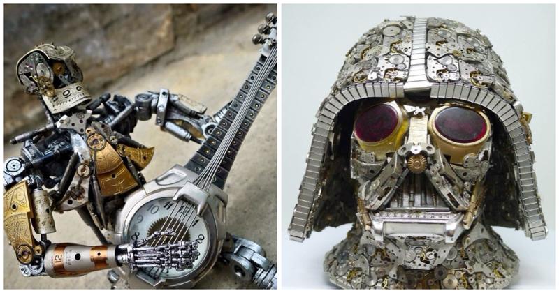 Стимпанк-скульптуры из деталей часов от Дэна Таненбаума (44фото)
