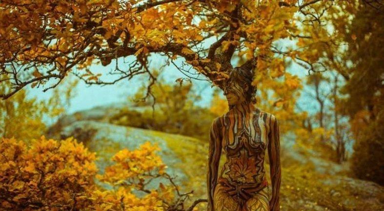 Художница создаёт боди-арт, умело вписывая людей в окружающую среду (11фото+1видео)