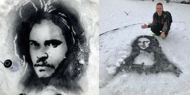 Художник прямо на снегу создал портреты известных людей (8фото)