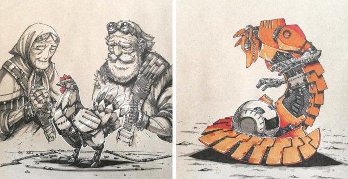 Художник изобразил, как выглядели бы герои русских народных сказок, если бы их действие происходило в постапокалиптической вселенной (7фото)