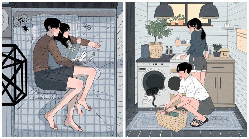 Как выглядит жизнь любящей пары: иллюстрации корейского художника Мён-Минхо (27фото)