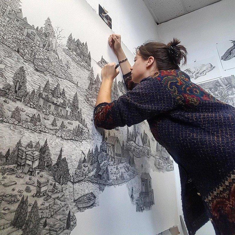 Фантазийные миры чернильной ручкой от Оливии Кемп (11фото)