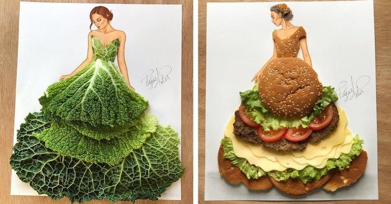 Армянский fashion-иллюстратор создаёт эскизы одежды из подручных средств (29фото)