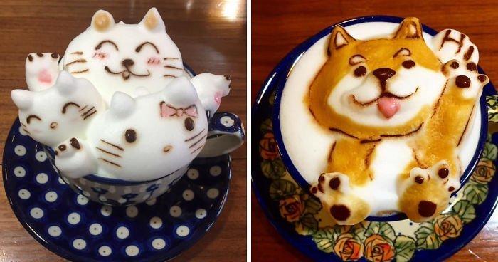 Китайский бариста создает из кофе композиции, которые просто жалко пить! (41фото)
